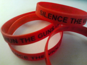 SILENCE THE VIOLENCE AND SHUN THE GUNS wrist bracelets