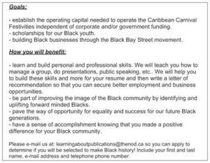 Caribbean Parade Eve Business volunteer flyer N.O.D. back